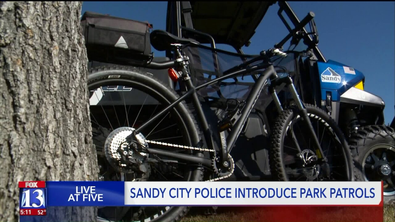 Officers on bikes, ATVs and even snowshoes will patrol Sandy's parks and green spaces
