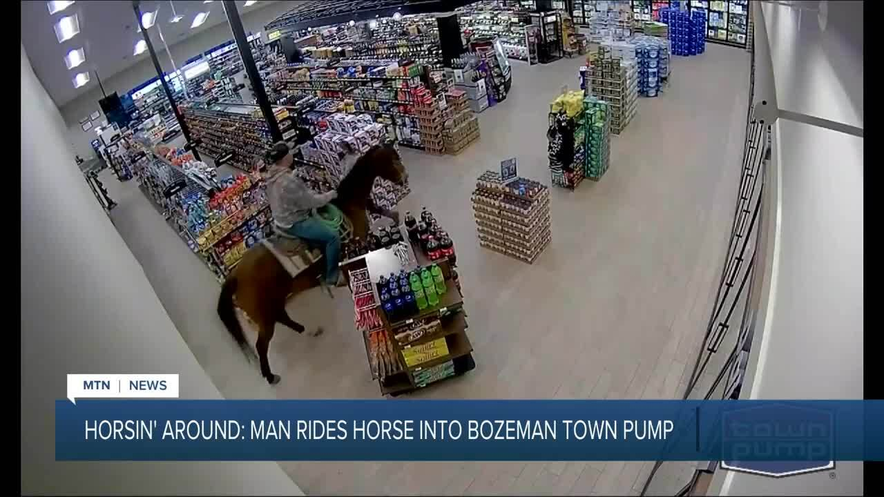 Man goes shopping on horseback