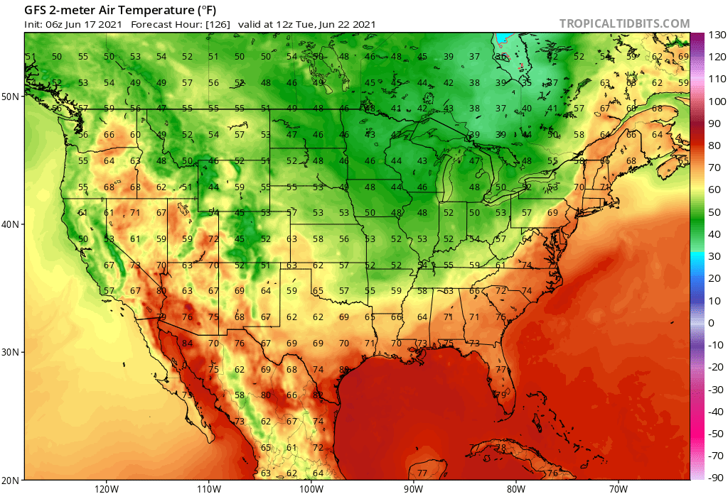 Lows Tuesday