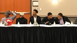 Princeton football players at the annual Greater Miami Conference football ceremony