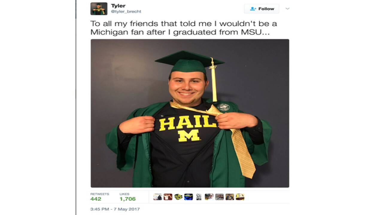 Spartan grad's tweet goes viral after revealing he's a Wolverine fan