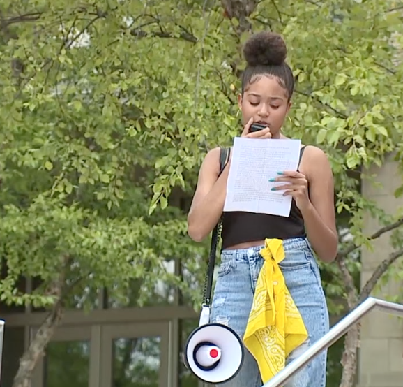 Mariah Norman during a Black Lives Matter march she organized in June