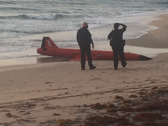 military drone washes up on beach at Ocean Ridge Hammock Park