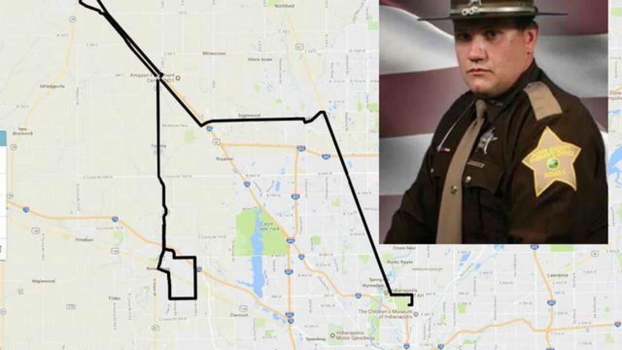 Procession route for fallen Boone County Deputy Jacob Pickett