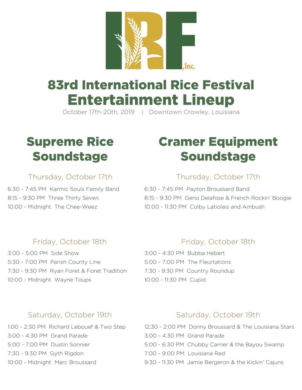 Rice Festival Line-up