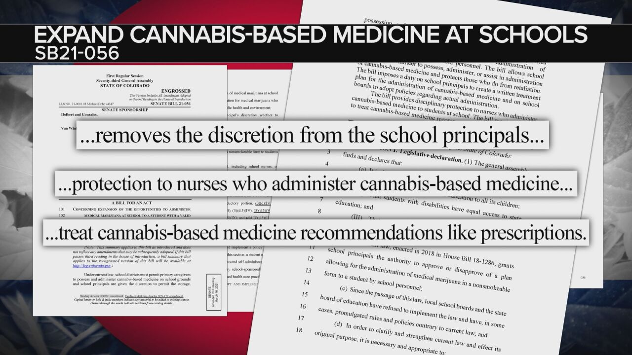 SB21-056: Expanding Cannabis-based medicine at schools