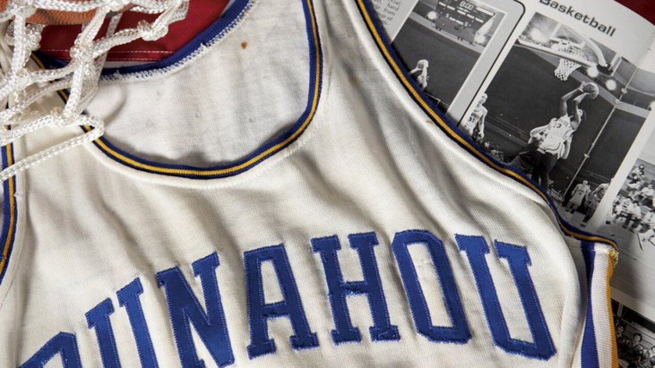 This undated photo released by Heritage Auctions shows a Punahou High School basketball jersey worn by former student Barack Obama. Bidding was drawing to a close Friday, Aug. 16, 2019, for the basketball No. 23 Punahou School jersey believed to have been worn by President Barack Obama. Obama the wore that number during the 1978-79 school year in Honolulu. (Courtesy AP)