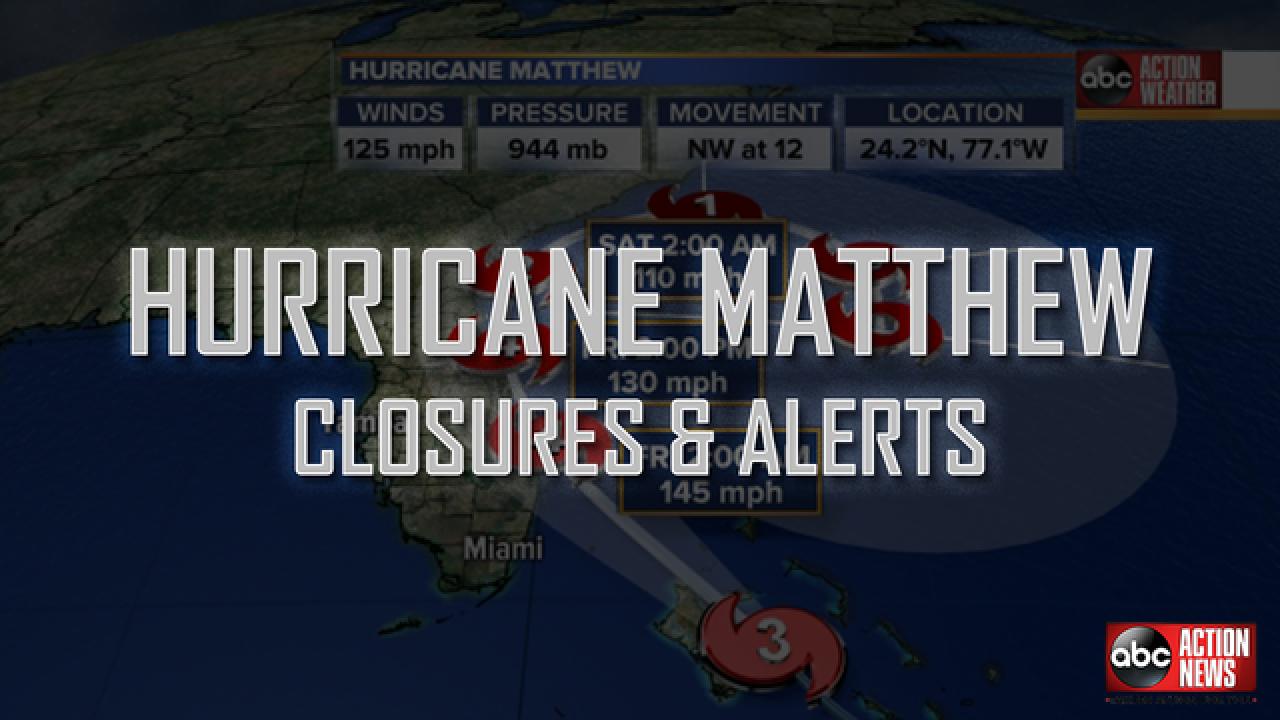 Hurricane Matthew: Closures and Alerts