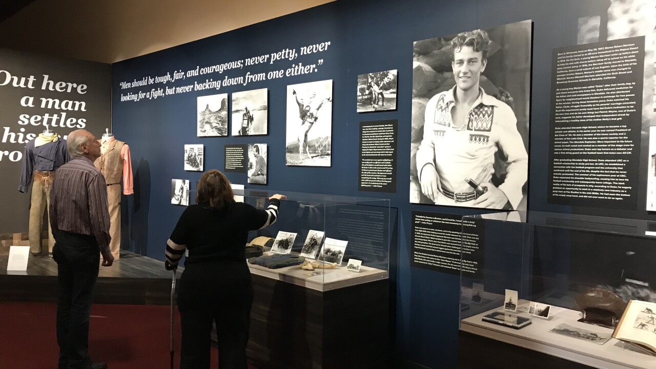 John Wayne starred in at least 77 films during his 51 year career and some of the rare movie memorabilia are on display for a limited time in Las Vegas