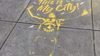 Indianapolis painted gold with chalk art for Pacers season opening week