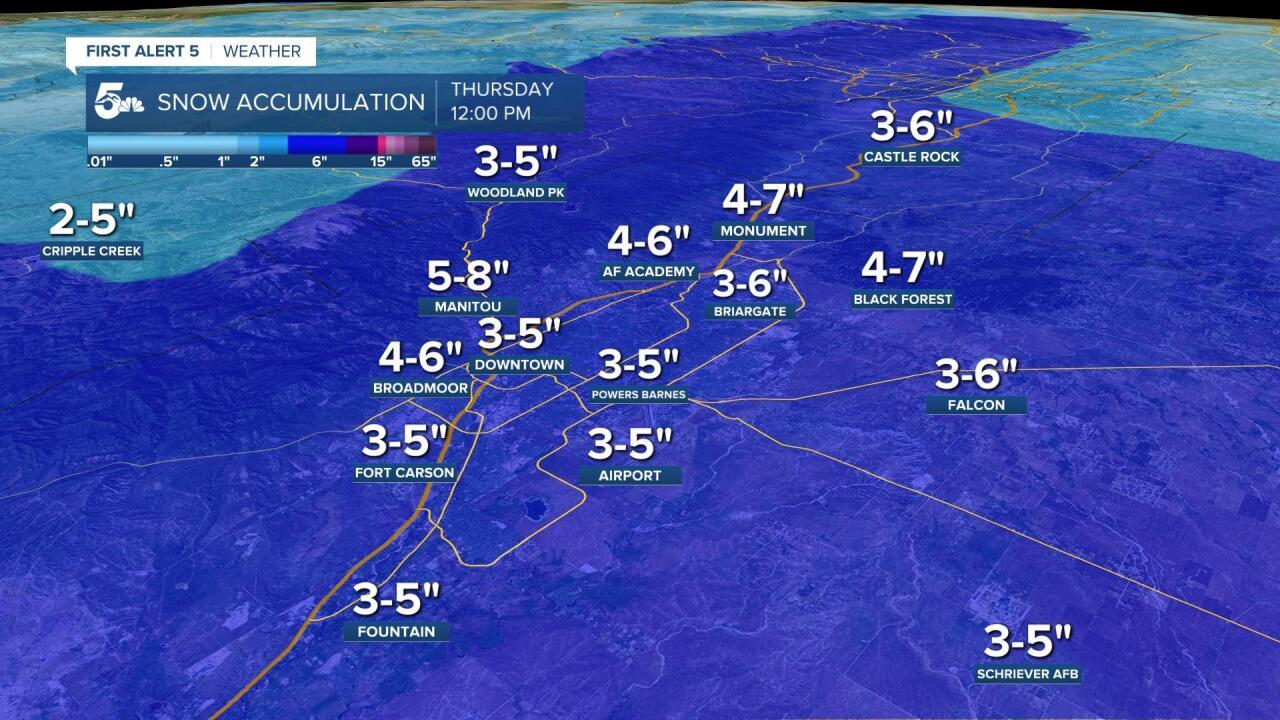 Pikes Peak Region Snow Accumulation