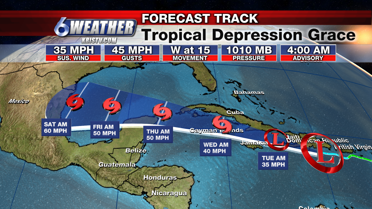 Forecast Track for Tropical Depression Grace as of 4AM 8-16-21
