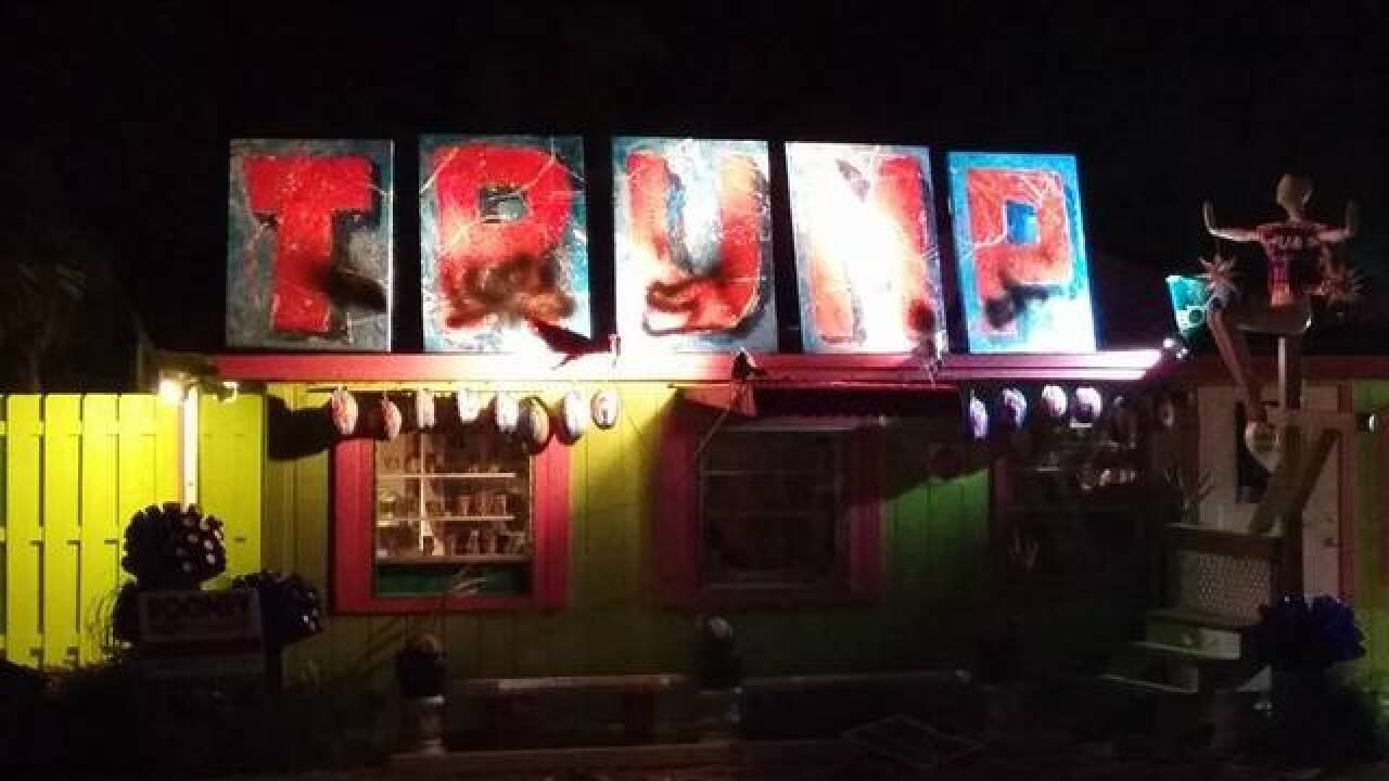 Vandals strike Trump art display at Matlache...