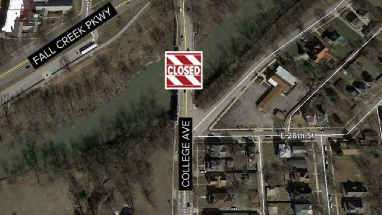 College Avenue bridge over Fall Creek Parkway to close through mid-November