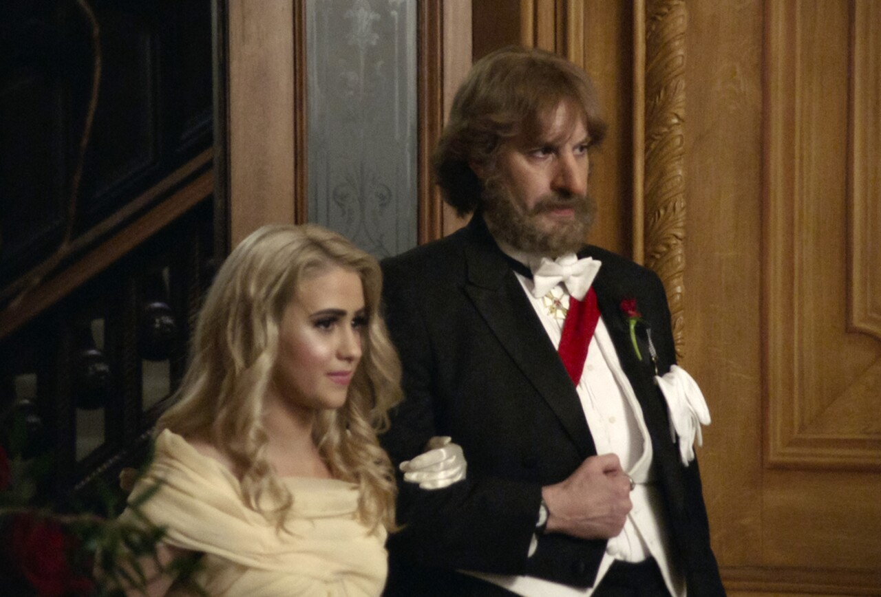 'Borat Subsequent Moviefilm' scene featuring Maria Bakalova and Sacha Baron Cohen