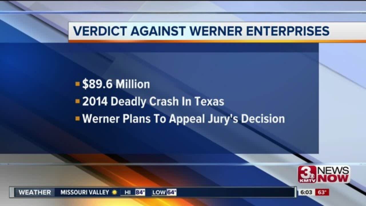 Werner Enterprises forced to pay $89.6 million for 2014 crash