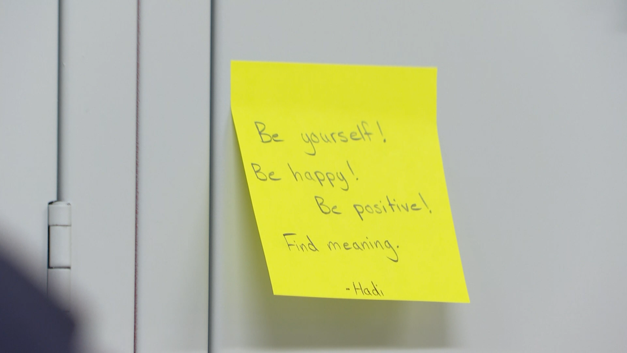 Local student posts hundreds of positive messages around his school