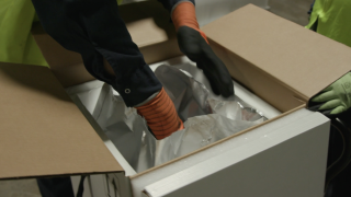Pfizer will use 50 pounds of dry ice in each thermal shipper box