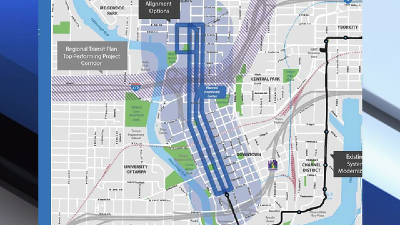City of Tampa's plans to expand the Streetcar system to fix downtown Ybor City Streetcar Map on st. louis streetcar map, tucson streetcar map, washington streetcar map, new orleans streetcar map, san francisco streetcar map, atlanta streetcar map,