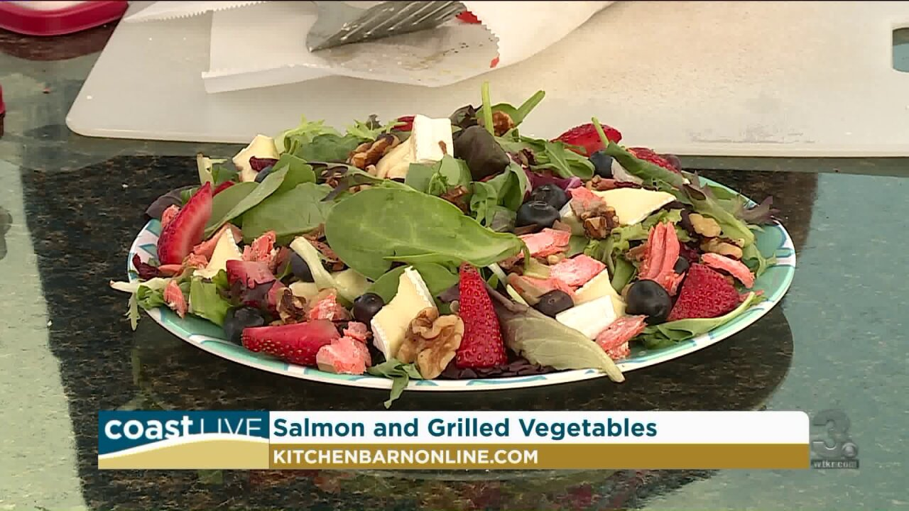 Grilling salmon for a healthy salad on CoastLive