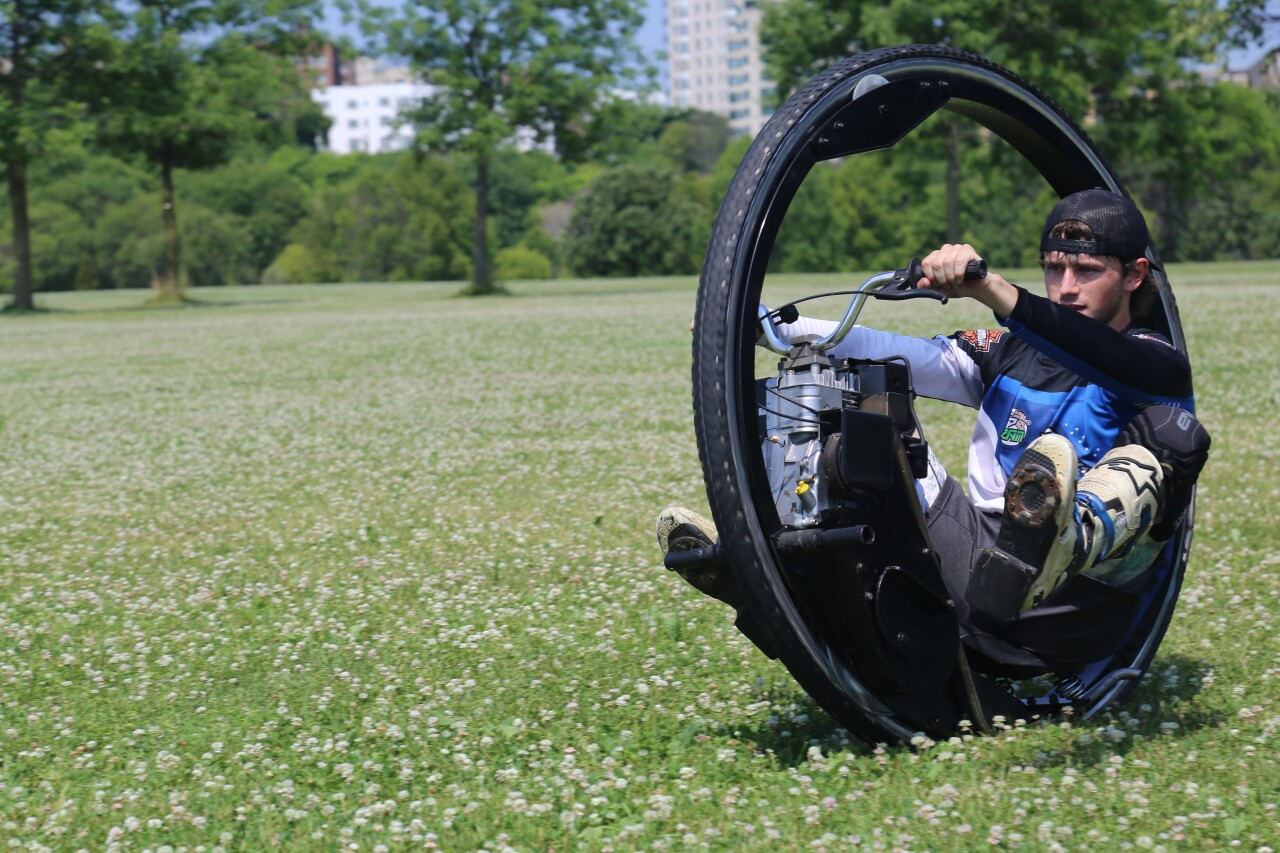 Hunter Howell riding his monowheel in Veterans Park in Milwaukee.