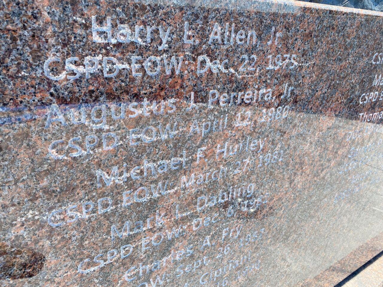 Peace Officers Memorial Damage