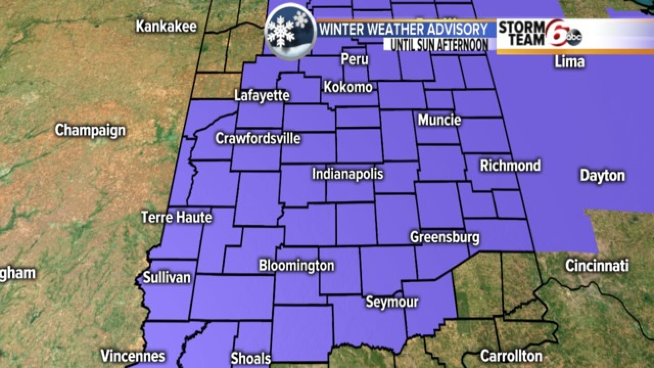 Winter Weather Advisory Issued Across Central Indiana