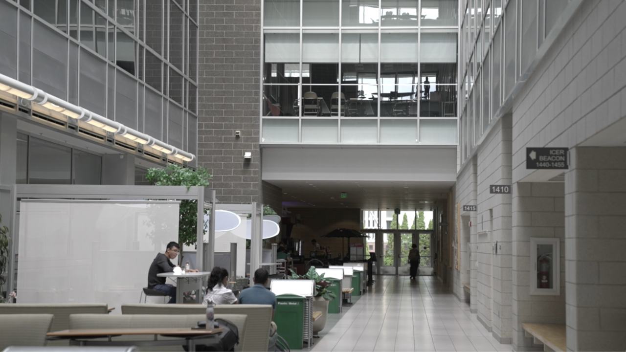 The atrium inside MSU's Biomedical and Physical Sciences building, powered by energy from solar glass