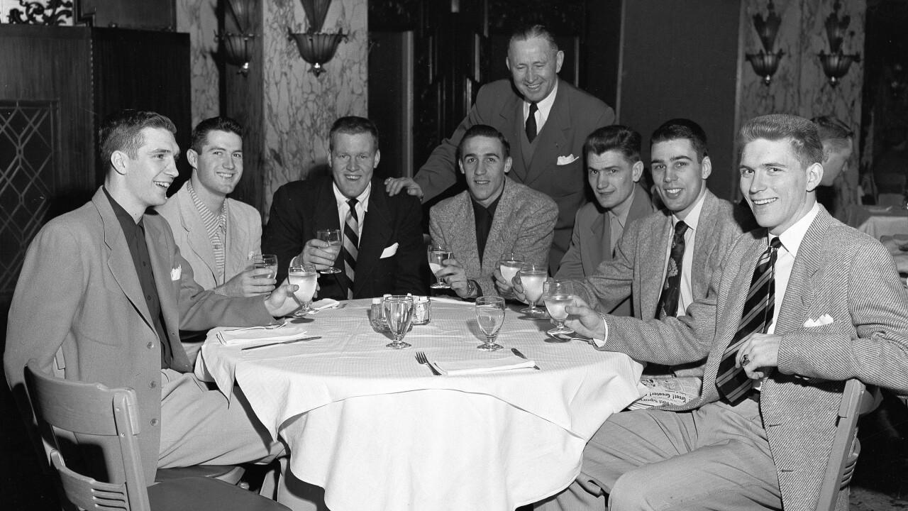 Forrest C. Allen, Phog Allen, Bill Hougland, Charles Hoag, Clyde Lovellette, Dean Kelley, John Keller, Bill Lienhard, Bob Kenny