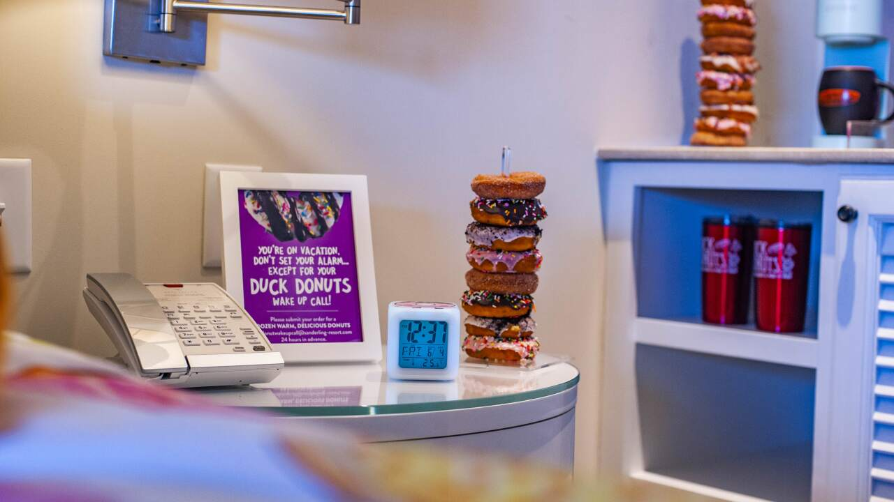 "Duck Donuts ""The Sweet Escape"" room at Sanderling Resort"