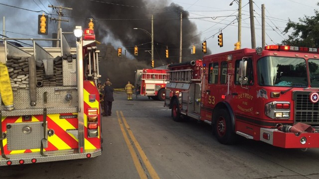 Crews battling large warehouse fire in Detroit