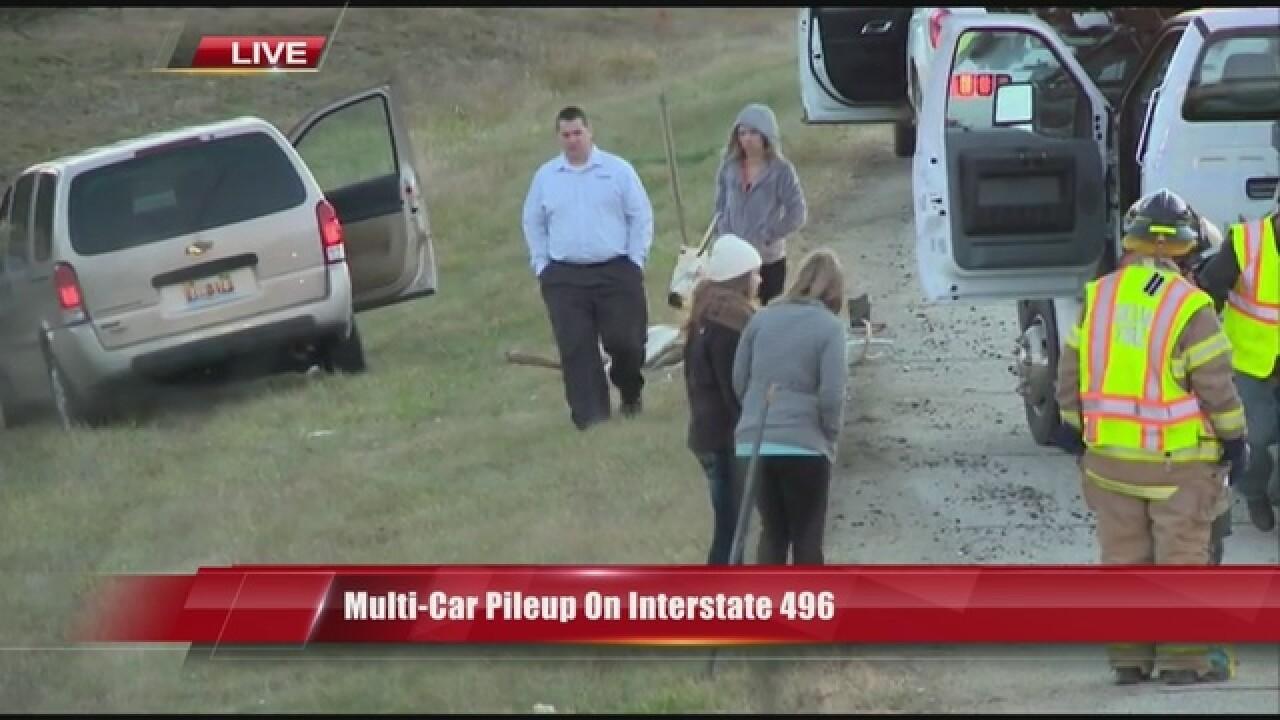 Multi-car pileup on Interstate 496