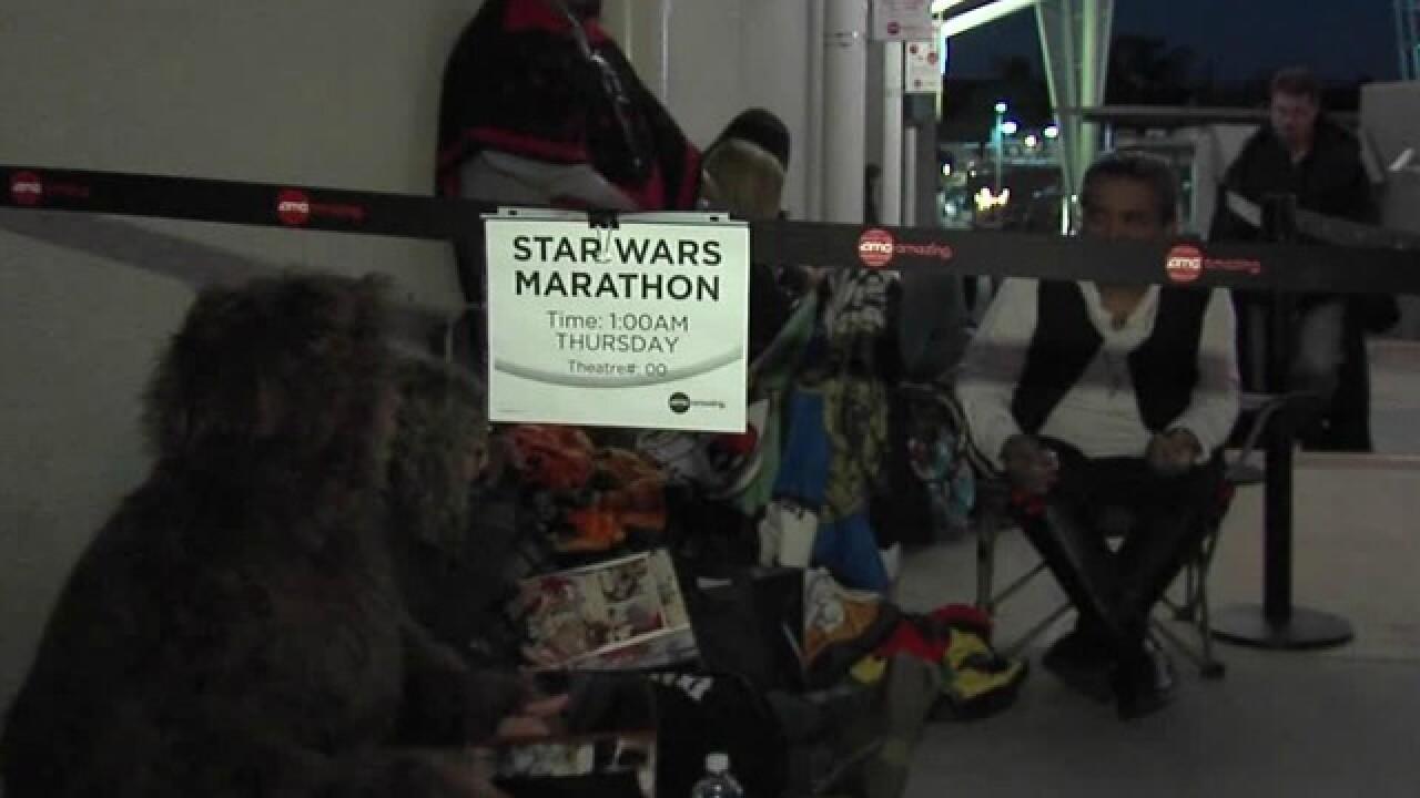 People camp for 'Star Wars' marathon, premiere