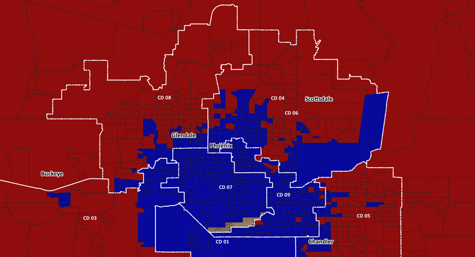 Maricopa Precinct by Precinct Election Results for 2018 – Sinema in Blue, McSally in Red
