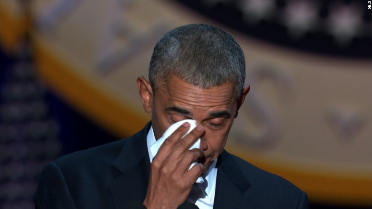 Obama tearfully thanks his wife in emotional moment
