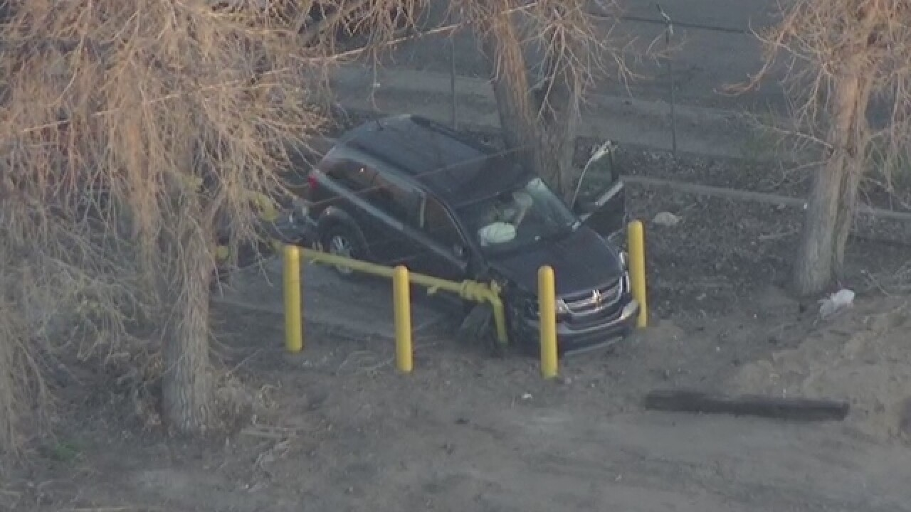 Car crashes into gas line in Commerce City