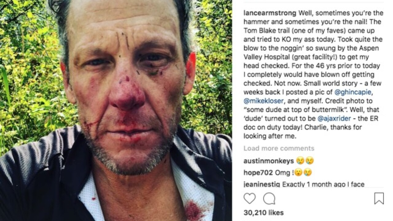 Lance Armstrong winds up in hospital after crashing bike on Colorado trail