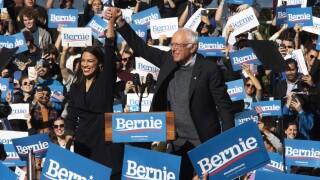 Bernie Sanders, Alexandria Ocasio-Cortez AP IMAGE