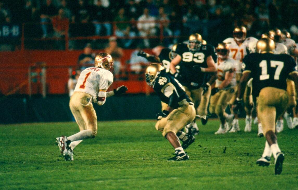 Florida State Seminoles receiver Andre Cooper eludes Notre Dame defense in 1996 Orange Bowl