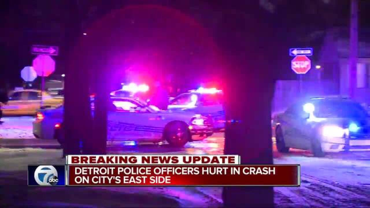 Two Detroit police officers hurt in crash on city's east side