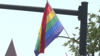 Pride flags line Elmwood Avenue in June