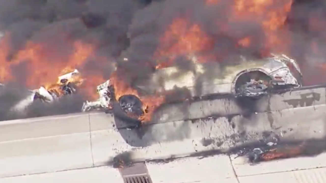 Massive semi fire closes WB I-696 at Woodward