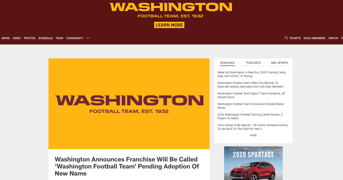 Nashville man unknowingly sells website domain to the newly named Washington Football Team