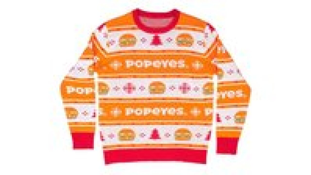 Popeyes debuts a chicken-inspired ugly Christmas sweater