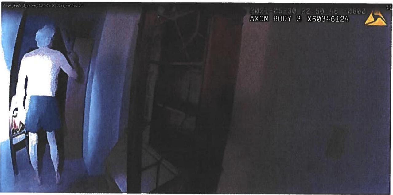 Nicholas Hanning assault charge_body camera_Clark putting sword up