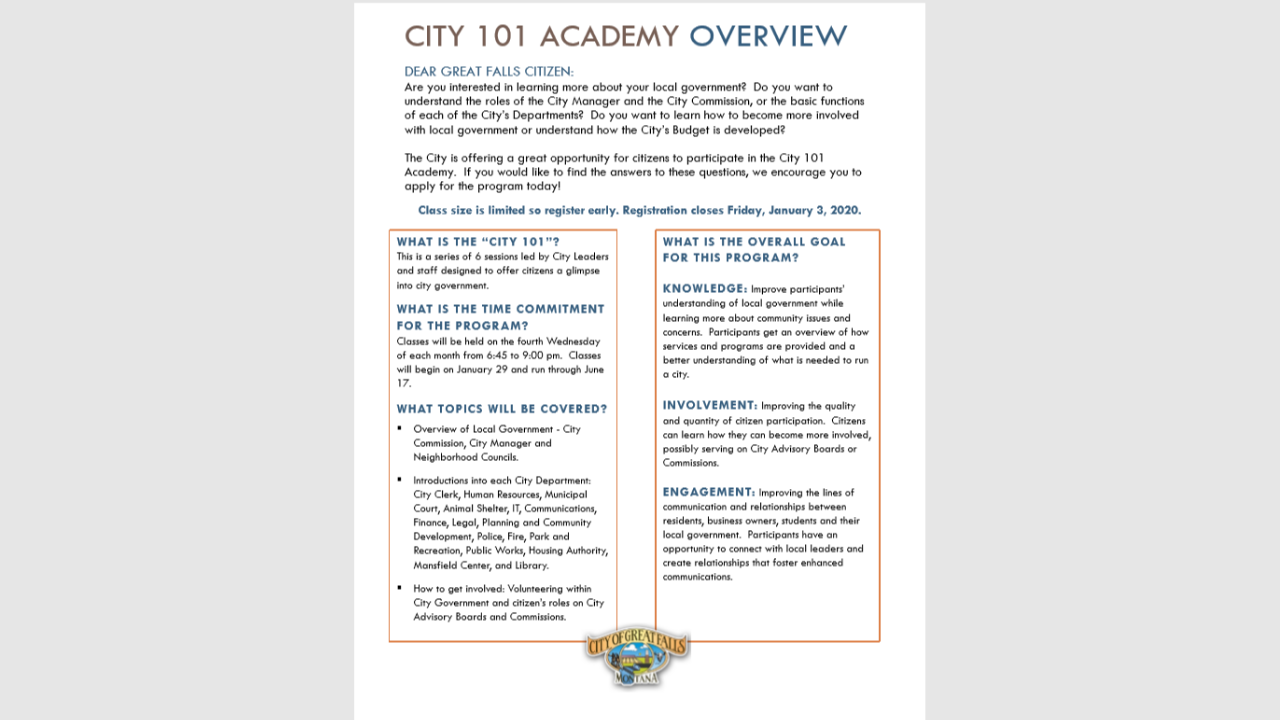 """City 101 Academy"" aims to explain how Great Falls works"