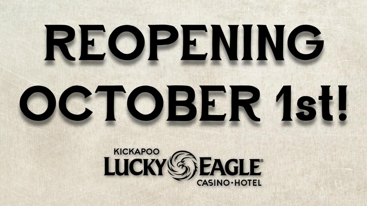 Kickapoo Lucky Eagle Casino will reopen at 25% capacity