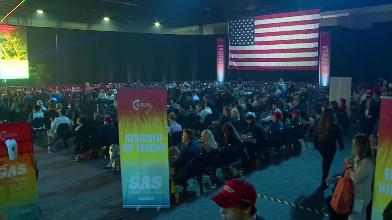 Maskless crowds at Turning Point USA conference, Dec. 22, 2020
