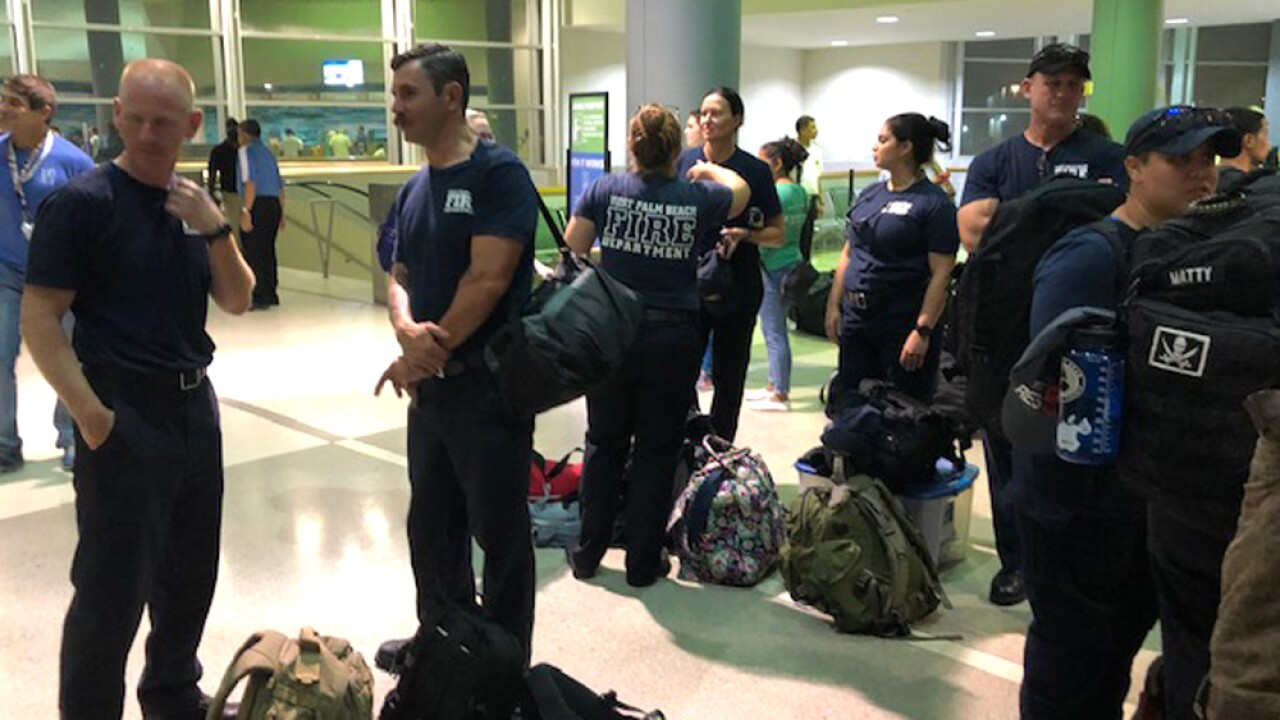 About a dozen West Palm Beach firefighters are aboard the Grand Celebration cruise ship, which is headed to Grand Bahamas Island on a humanitarian mission to assist victims of Hurricane Dorian.