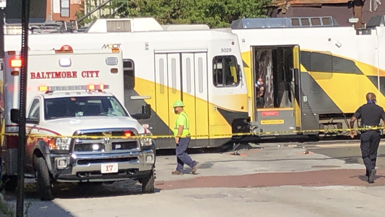 Scene of the deadly crash involving a light rail and car in downtown Baltimore